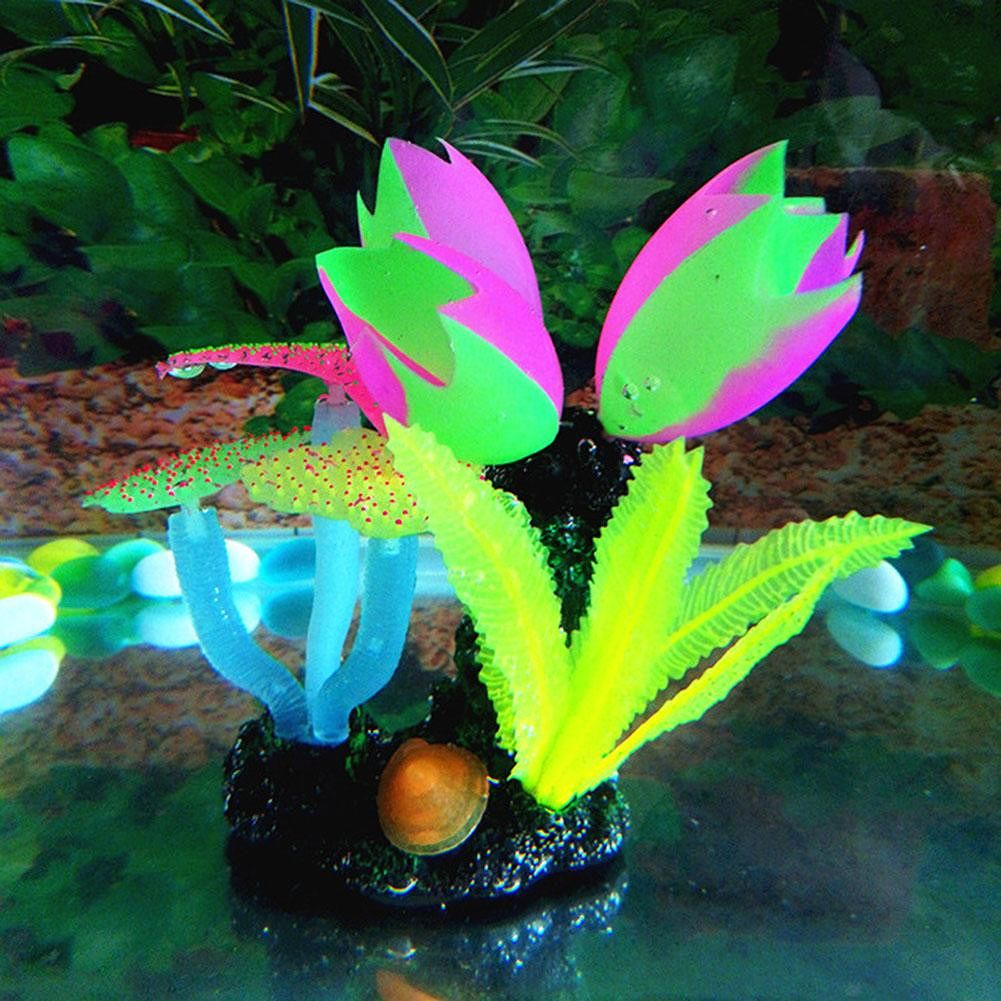 Simulation Water Grass Bubble Coral Fake Underwater Plants Decor (Yellow)
