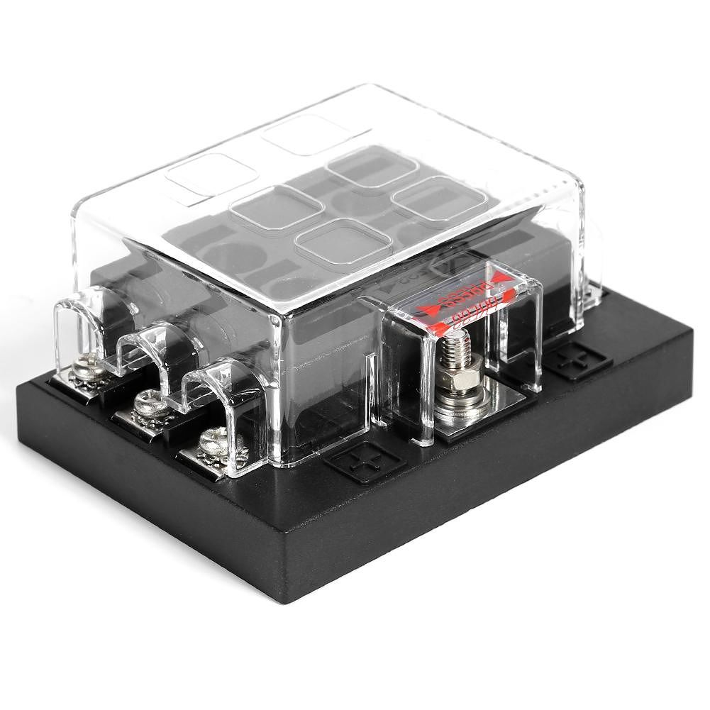 6 Way Circuit Standard Fuse Block Car Fuse Holder Box with Clear PC Cover