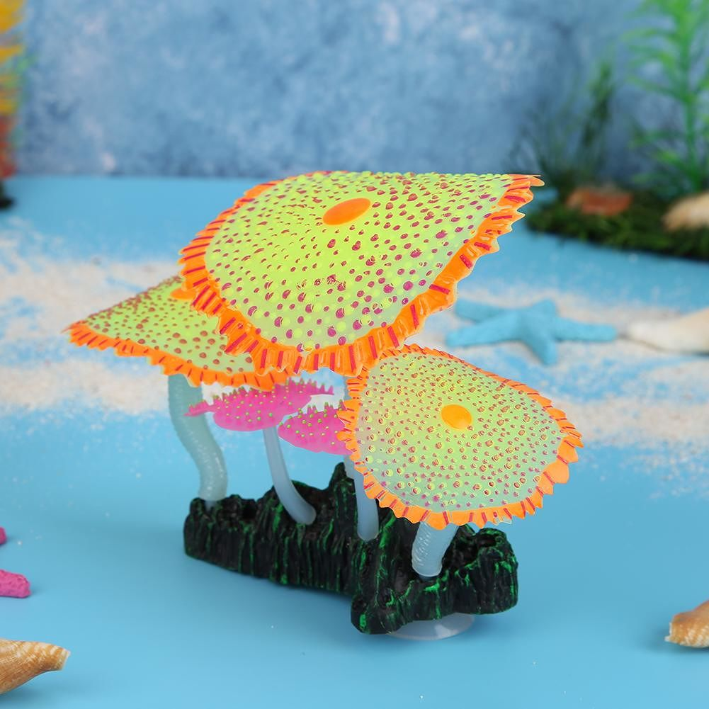 Fish Tank Simulation Luminous Sea Anemones Fake Underwater Plants (Yellow)