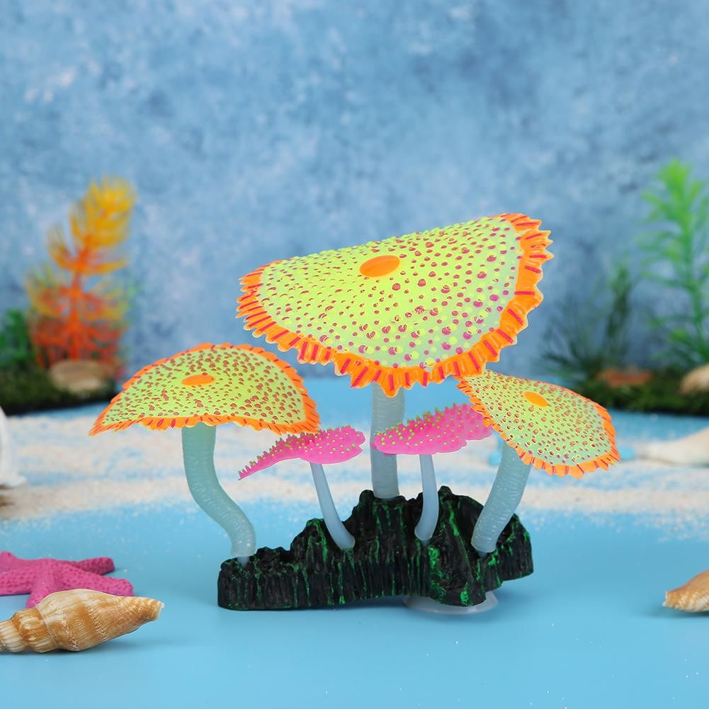 Fish Tank Simulation Luminous Sea Anemones Fake Underwater Plants (Yellow)