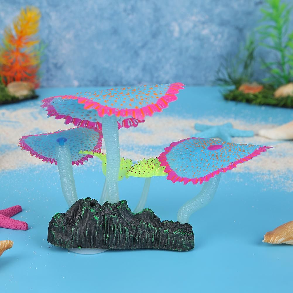 Fish Tank Simulation Luminous Sea Anemones Fake Underwater Plants (Blue)