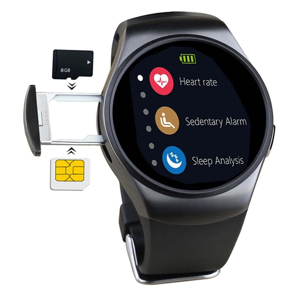 KW18 Bluetooth SIM TF Heart Rate Smart Watch Phone for iOS Android (Black)