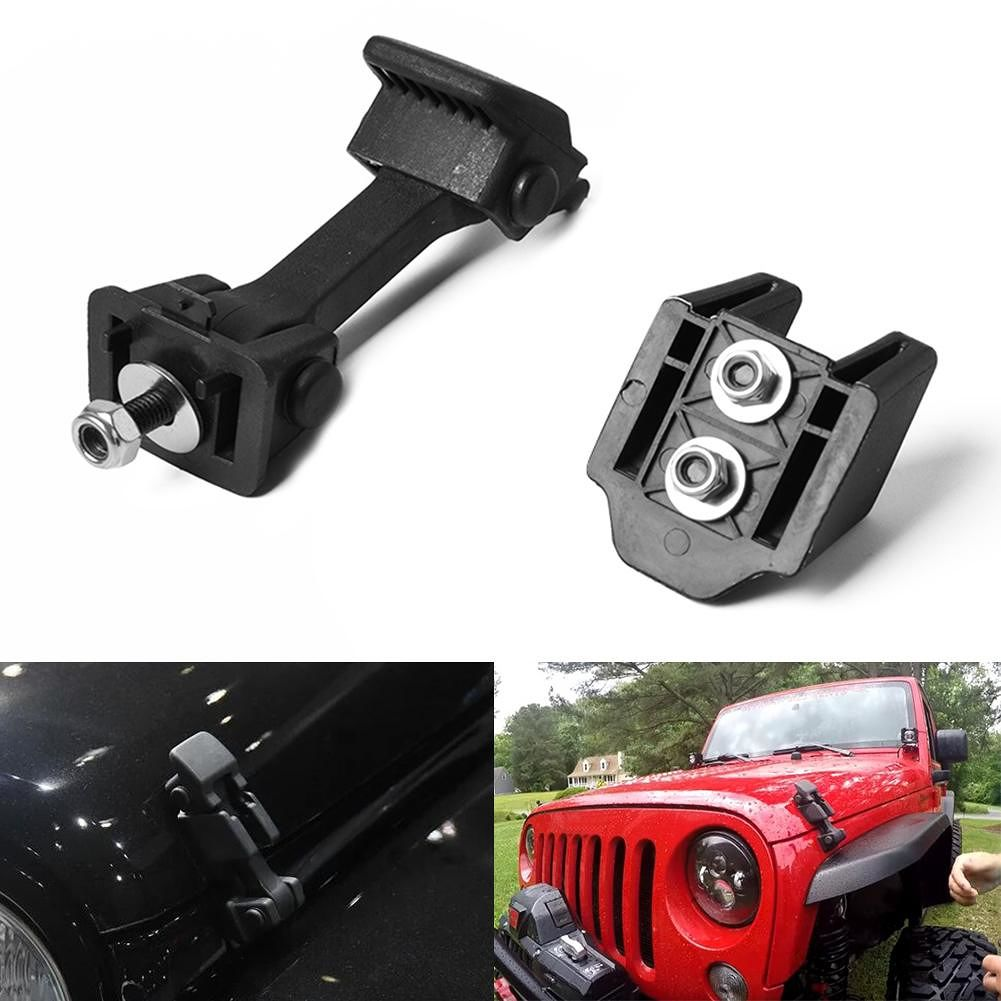 Hood Catch Set Bonnet Latch Engine Cover Lock for Wrangler JK 2007-2016