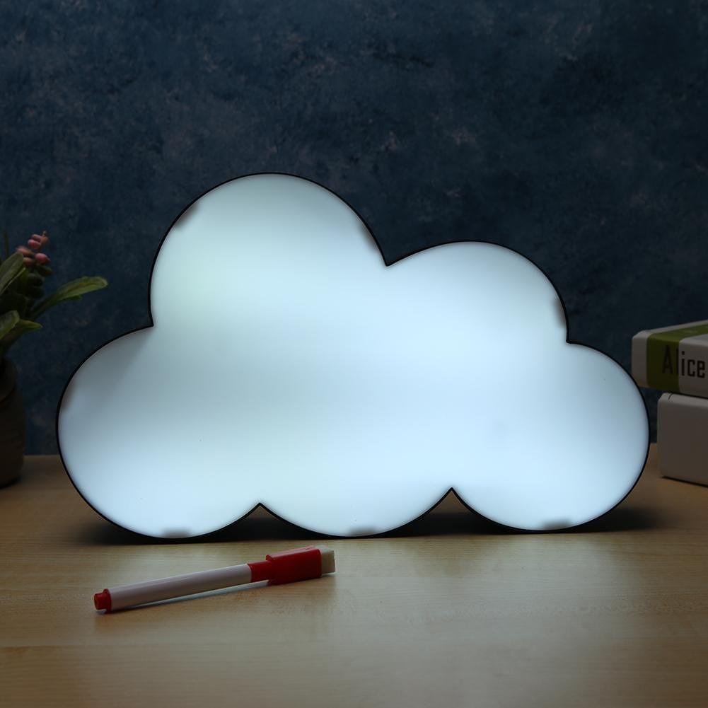 Cloud LED Message Lightbox Night Light Box Hand Writing Table Lamp (Black)