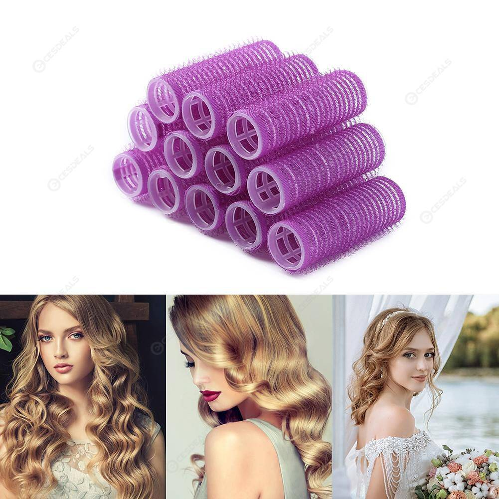 12pcs Self Grip Hair Rollers Hairdressing Home Use DIY Hair Curlers (20mm)