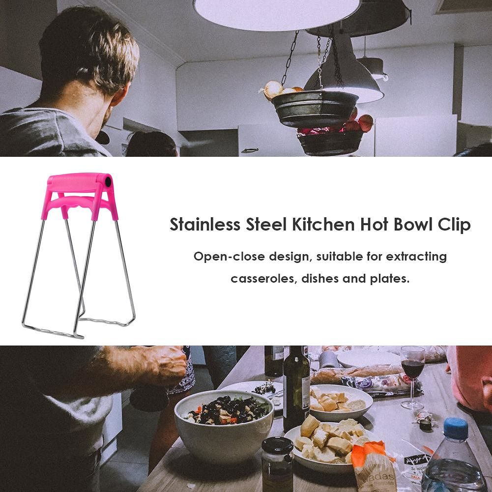 Stainless Steel Hot Bowl Clip Pot Pan Holder Steamer Tongs Kitchen Clamp