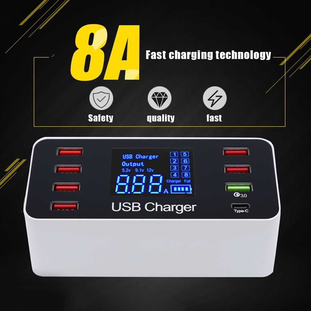 8 Port Fast Charger Type-C Quick Charge QC 3.0 USB Phone Charging (US Plug)