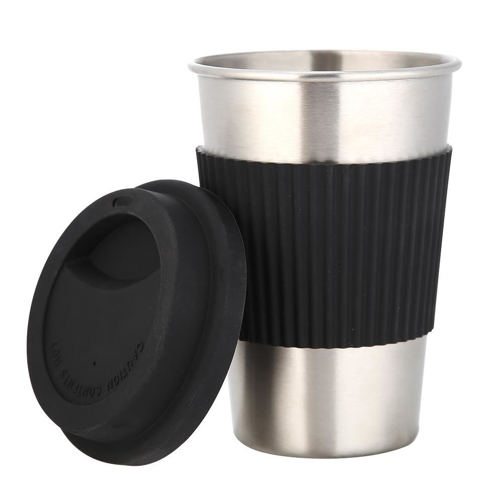 500mL Stainless Steel Water Cup Non-Slip Tea Mug Insulated Cups (Black)