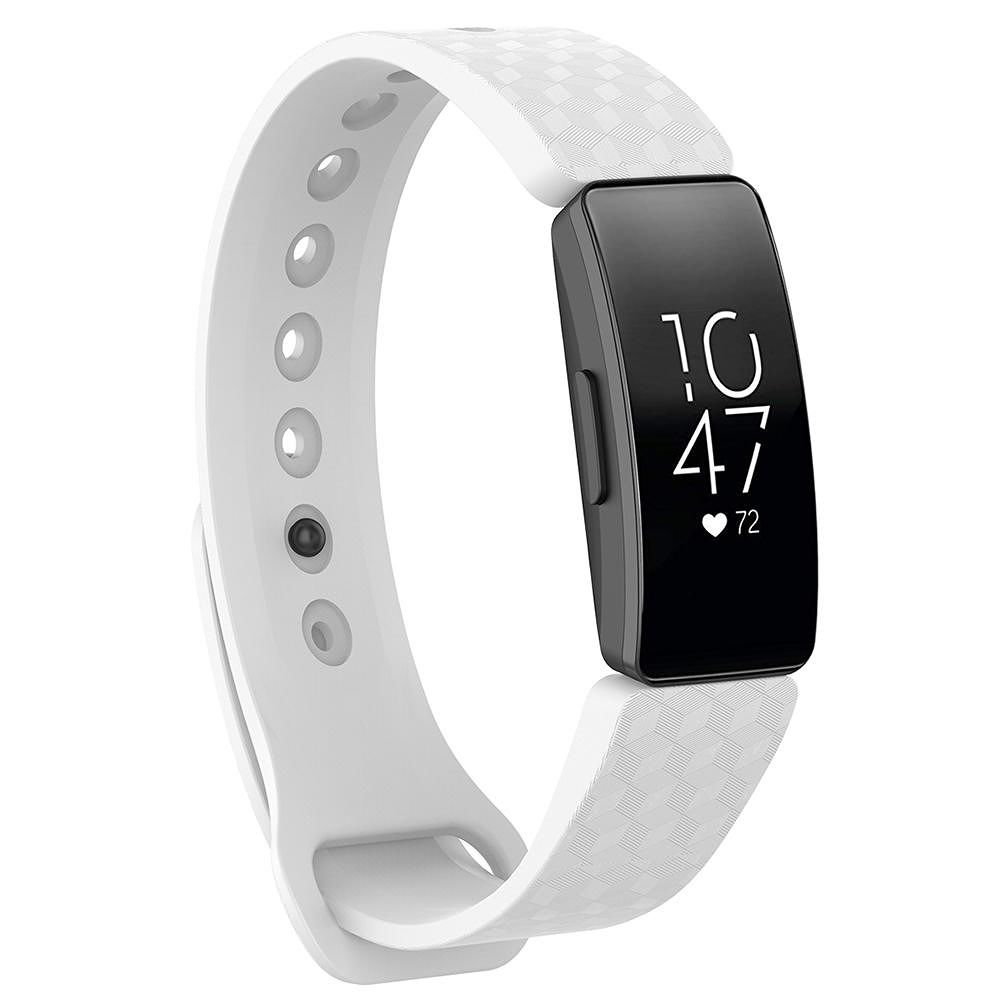 TPE 3D Pattern Watchband Buckle for Fitbit Inspire/Inspire HR S (White)