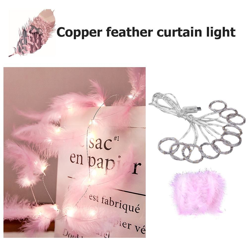 300LED Copper Wire Feather Curtain Lamp USB Fairy String Light Party Decor