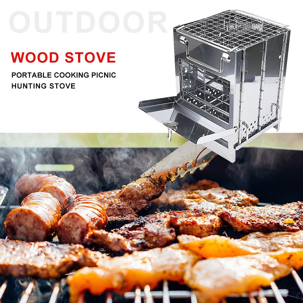 Stainless Steel Foldable Outdoor Camping firewood Stove for Home Picnic BBQ