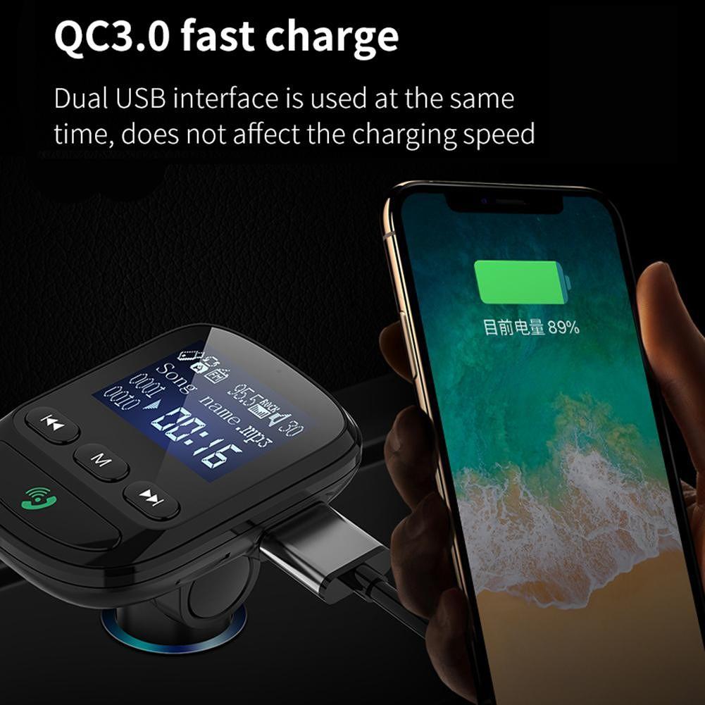 BT06 LCD Bluetooth FM Transmitter Car Kit MP3 Player QC3.0 USB Charger