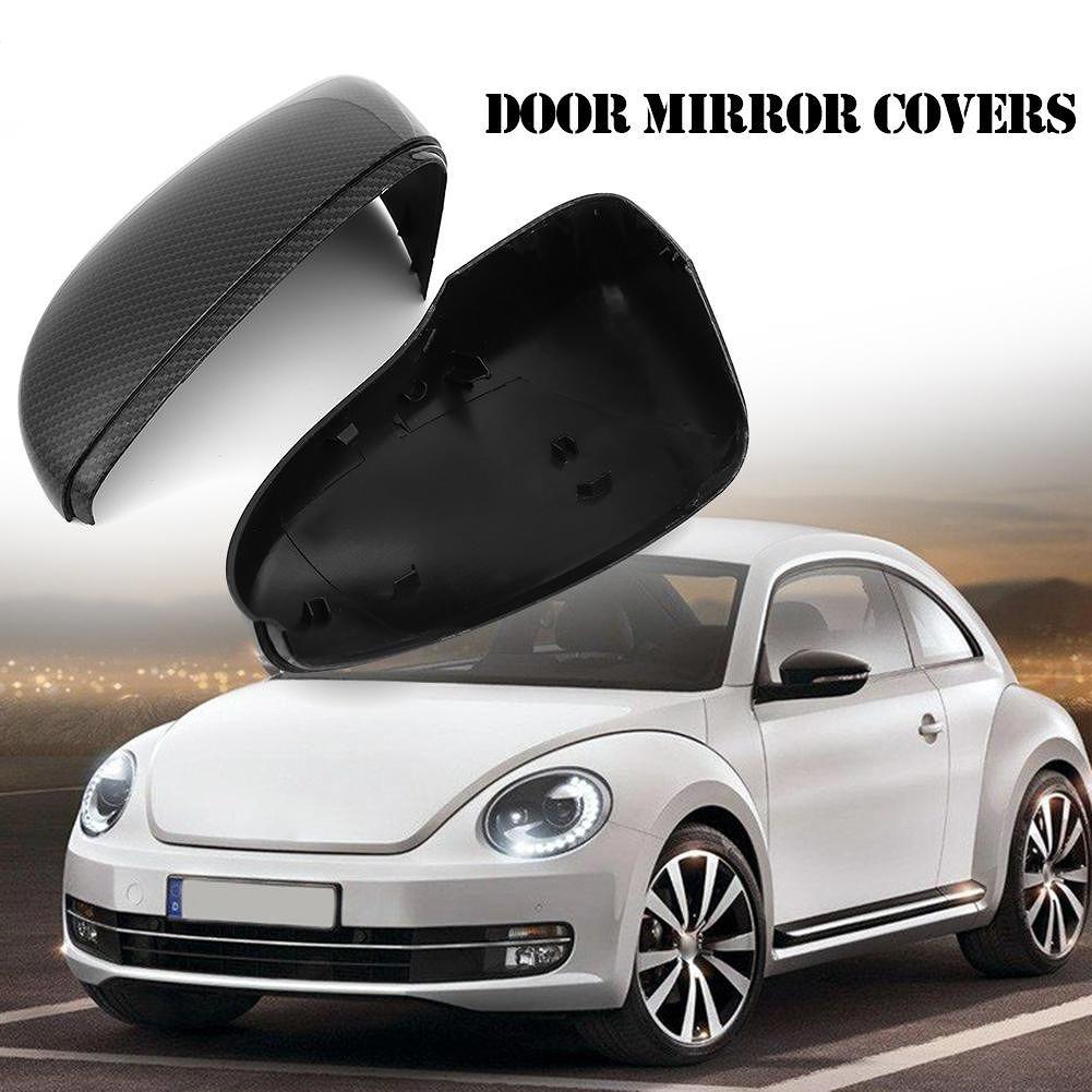 Left+Right Carbon Fiber Look Door Mirror Covers for Beetle CC Jetta Passat