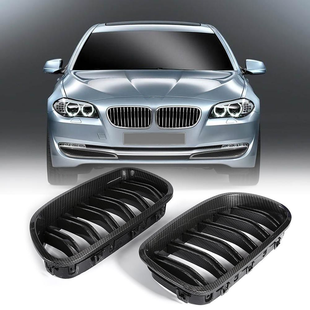 2pcs Carbon Fiber Look Front Kidney Grilles for F10 F18 5 Series 2010-2015