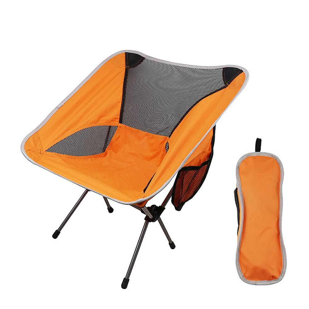 Fishing Chairs Foldable Chair Outdoor Camping Portable Picnic Seat (Orange)