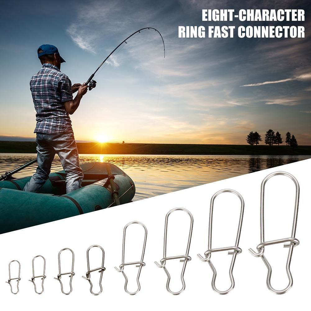 Hooked Snap Pin Stainless Steel Fishing Barrel Swivel Connector (100pcs)
