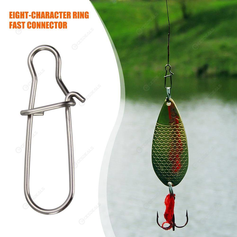 100pcs Hooked Snap Pin Stainless Steel Fishing Hook Lure Accessories Connector