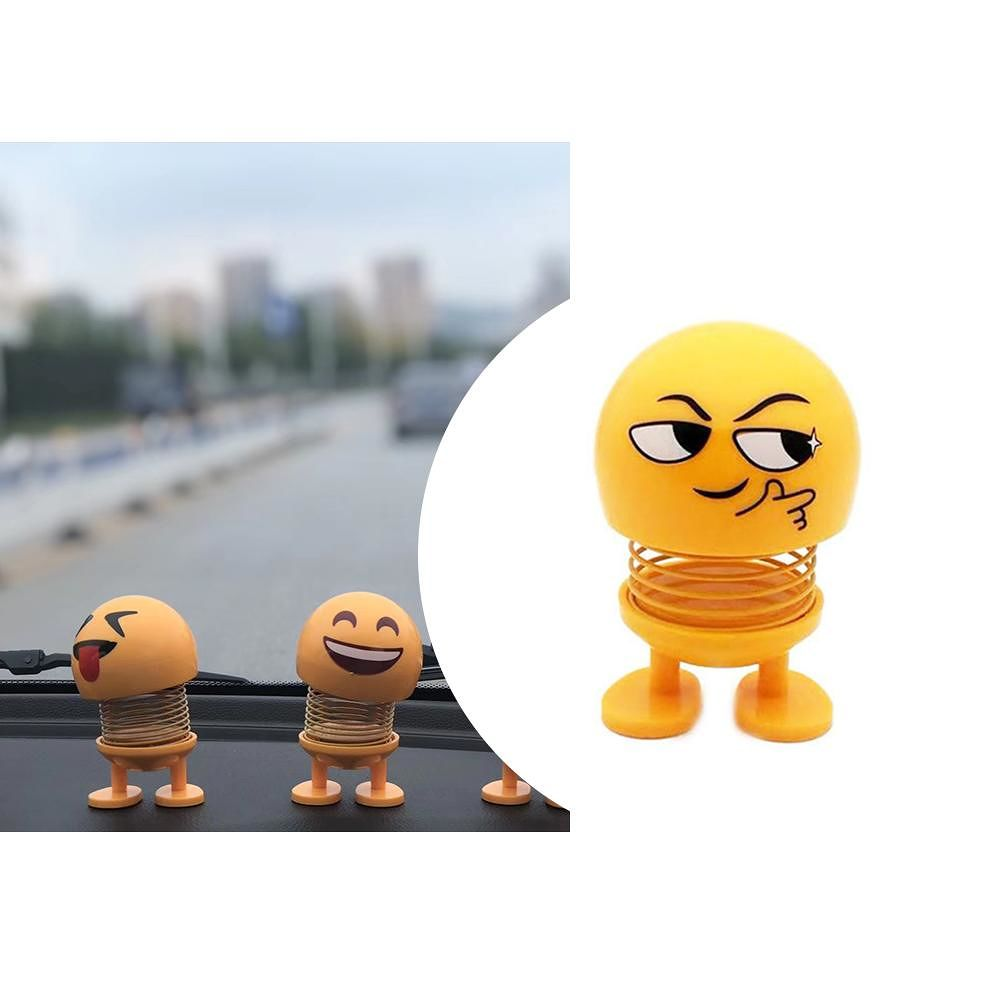 Emoticon Doll Creative Funny Bouncing Shake Head Dolls Car Ornaments (Wit)