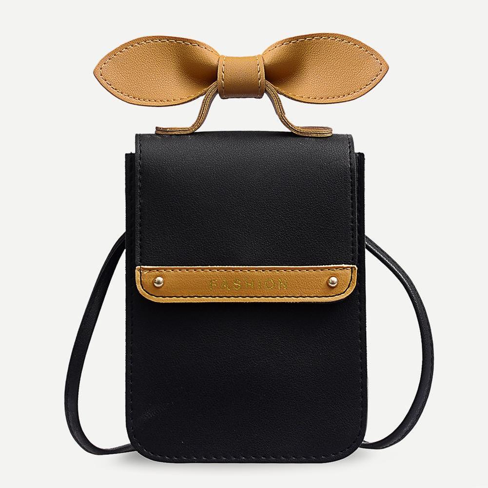 Bowknot Shoulder Handbags Hit Color Women Crossbody Phone Bags (Black)