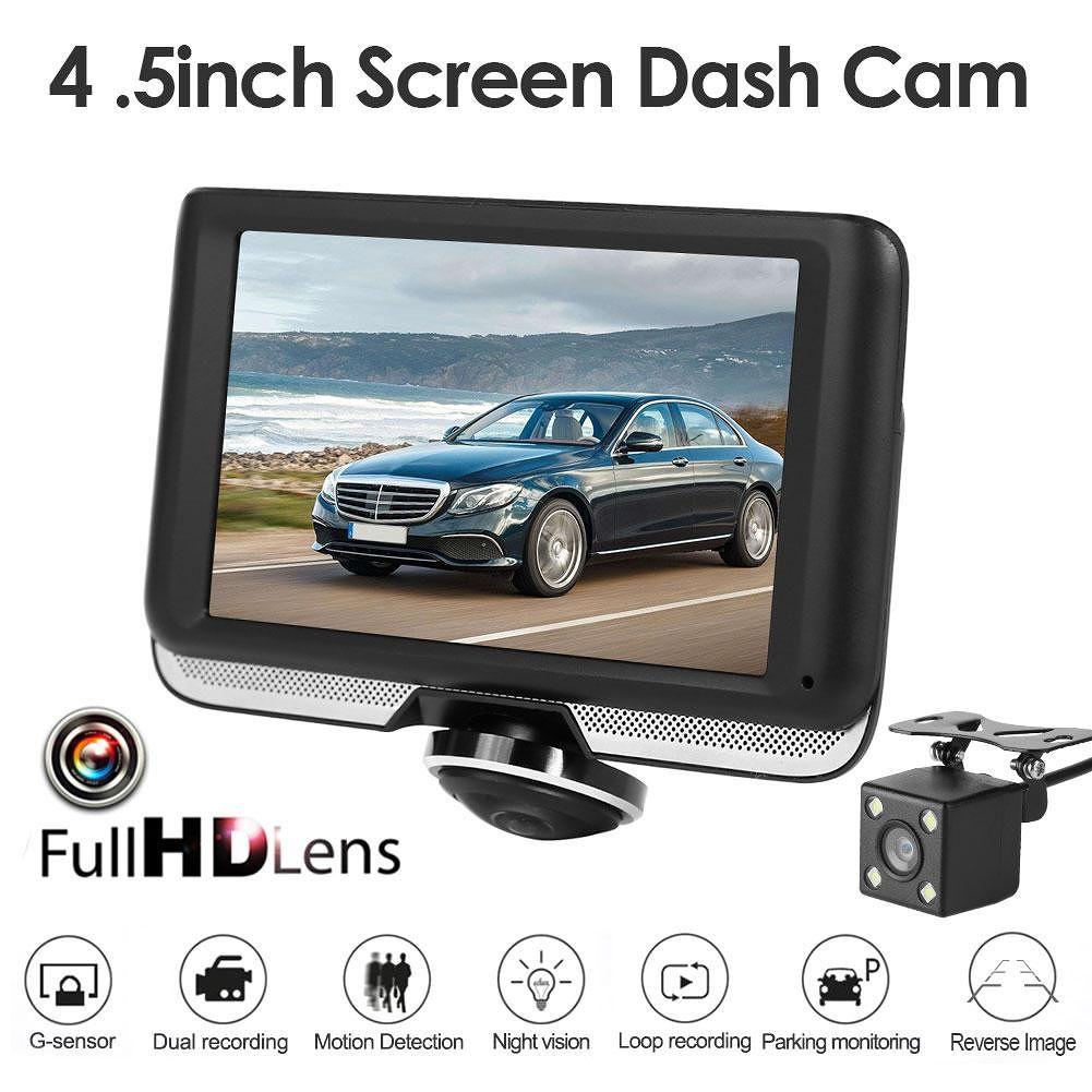 4.5 inch Screen Panoramic Car DVR Camera Dual Lens Night Vision Recorder