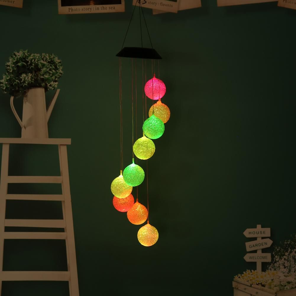 9LED Solar Lamp Color Changing Hanging Bell Lamp for Home Garden Decoration