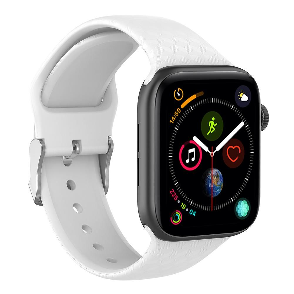 Silicone 3D Sport Watchband Bracelet for Apple Watch Series 1/2/3/4 (White)