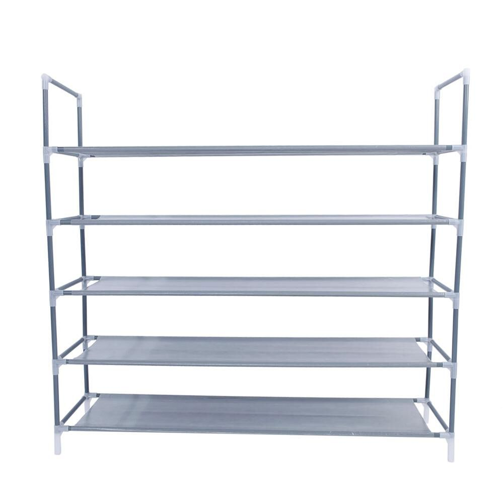 Simple Assembly 5 Tiers Non-woven Fabric Shoe Rack w/Handle Home Organizer