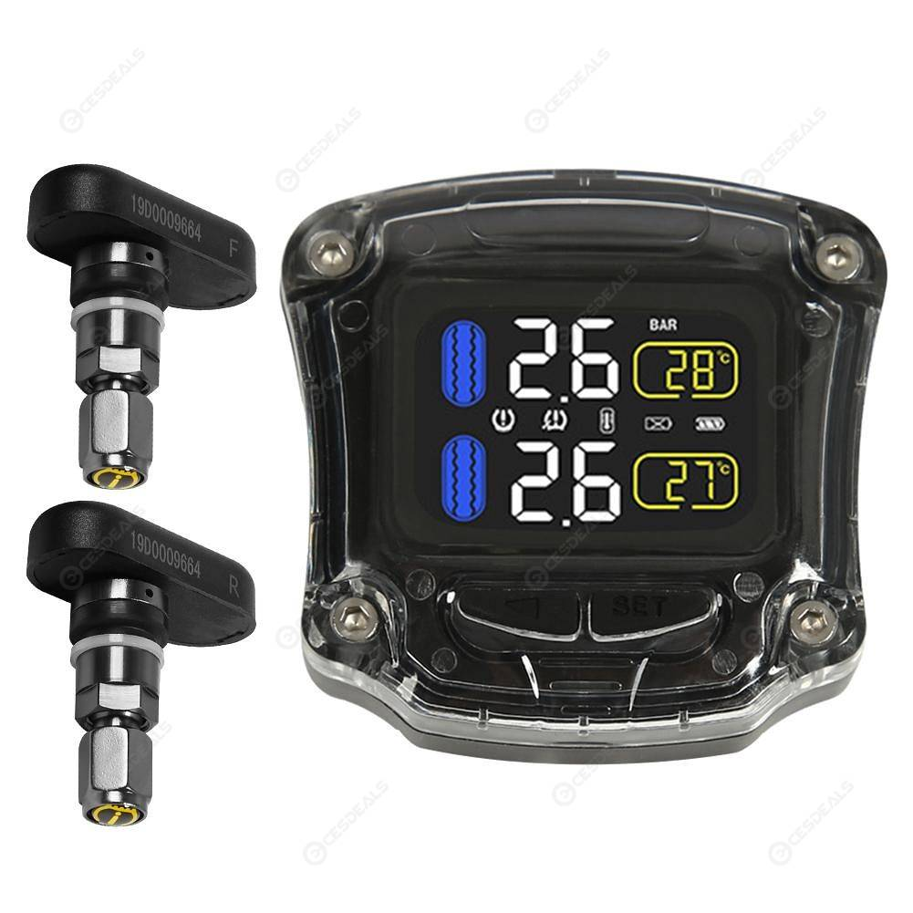 Motorcycle TPMS Tire Pressure Monitoring System with 2 Internal Sensors