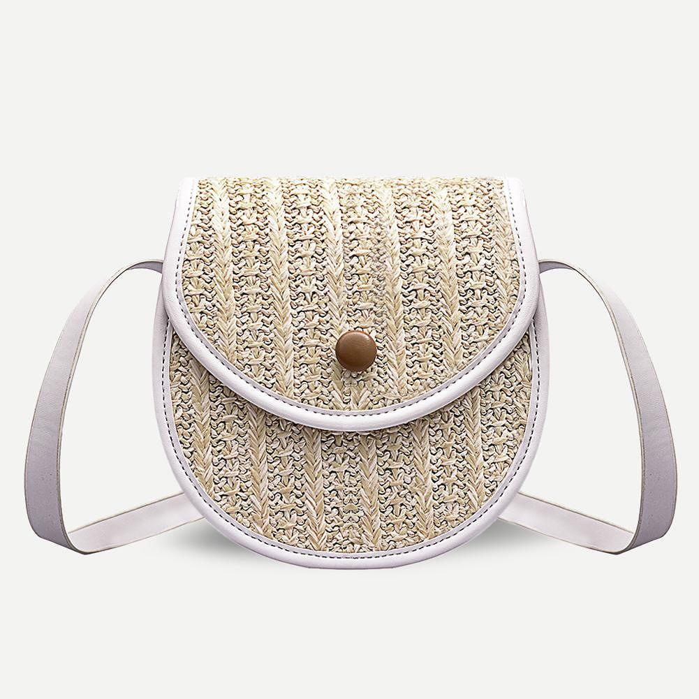 Small Straw Shoulder Messenger Handbags Women Leather Crossbody Bag (White)