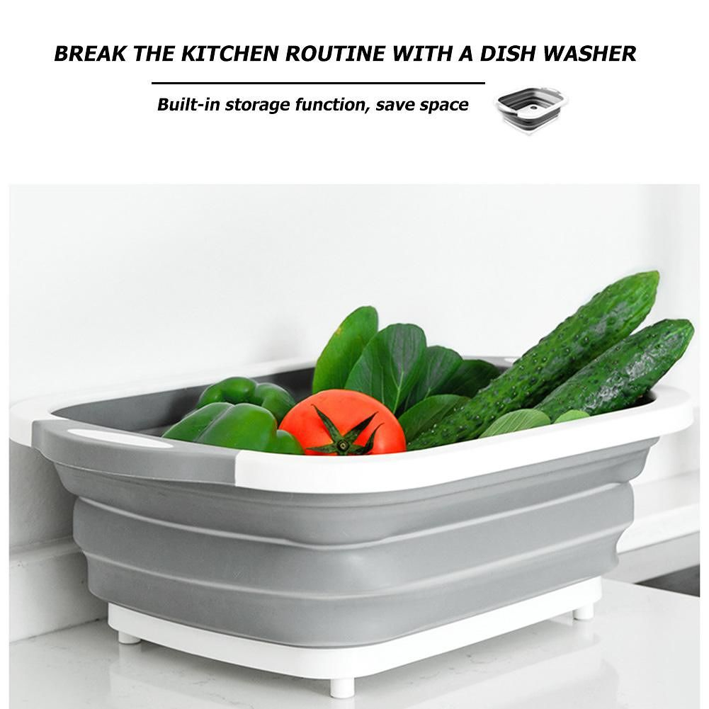 Fruit Vegetable Washing Basin Folding Drain Basket Kitchen Cleaning Tool