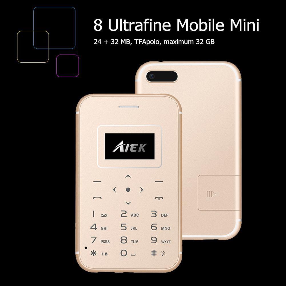 X8 Ultra Thin Pocket Mini Cell Phone Students TF Card FM MP3 Phones (Gold)