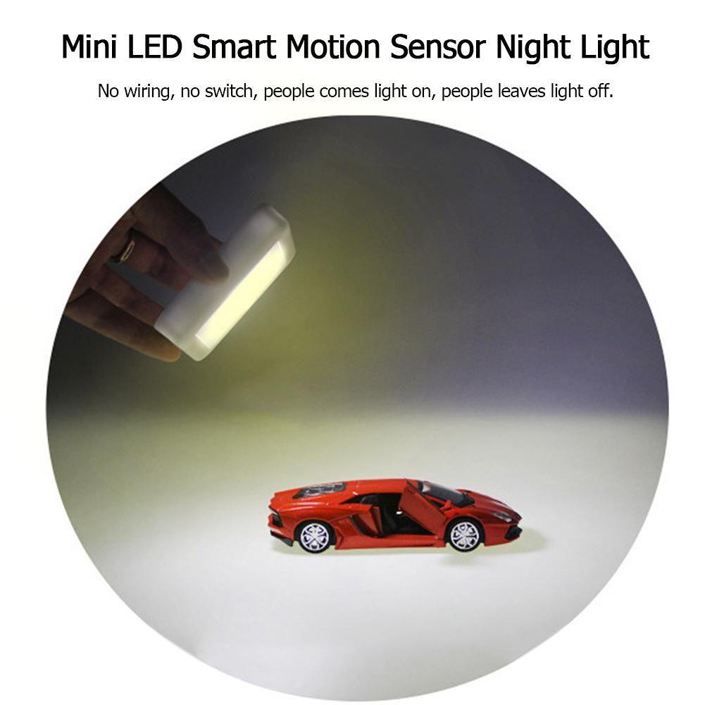 Mini LED Smart Motion Sensor Night Light Wardrobe Cabinet Lamp (Warm White)