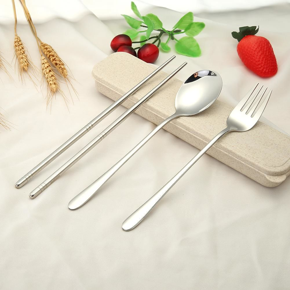 4pcs Stainless Steel Tableware Set Spoon Fork Chopsticks Gifts (Silver)