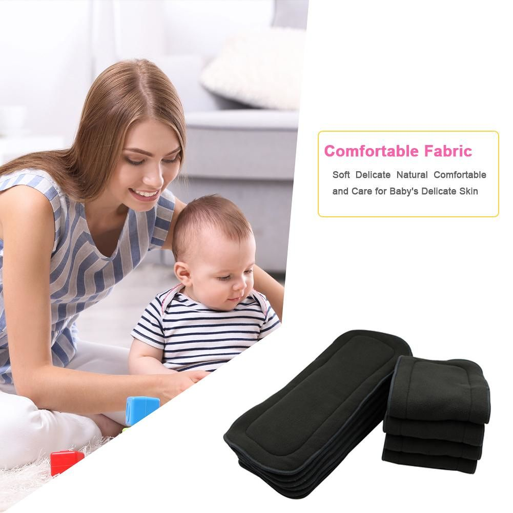 Bamboo Fiber Baby Nappies Reusable Washable Inserts Diaper Cover Wrap Cloth