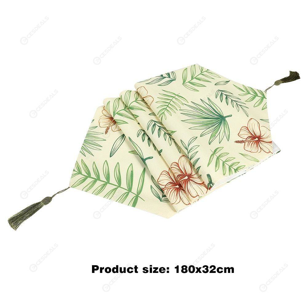 Tropical Rainforest Leaves Print Table Runner Tablecloth Table Cover (7)