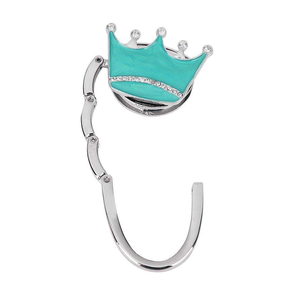 Rhinestone Crown Folding Table Edge Handbag Purse Hook Hanger (Light Blue)
