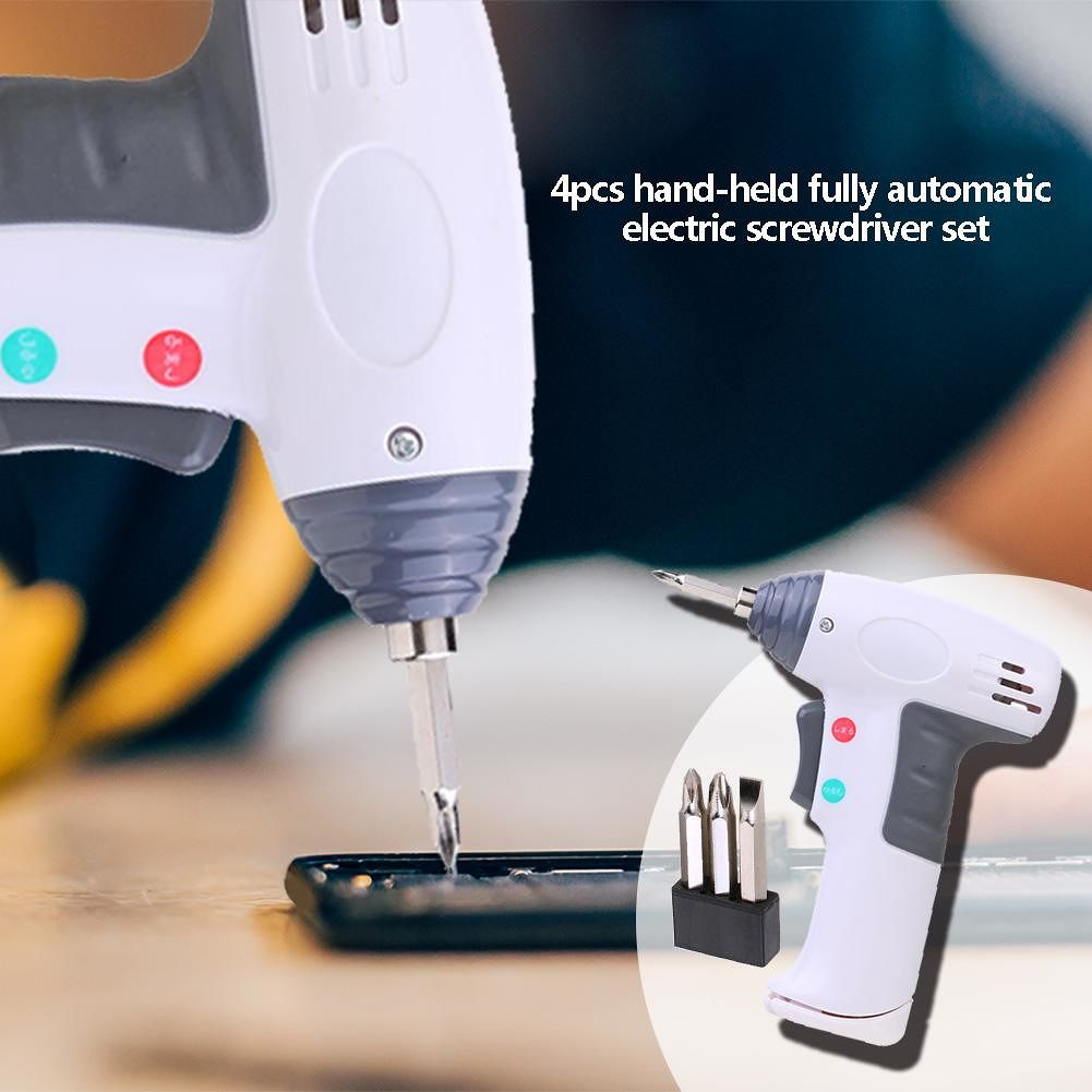 Household Handheld Electric Screwdriver+3pcs Slotted Phillip Heads (White)