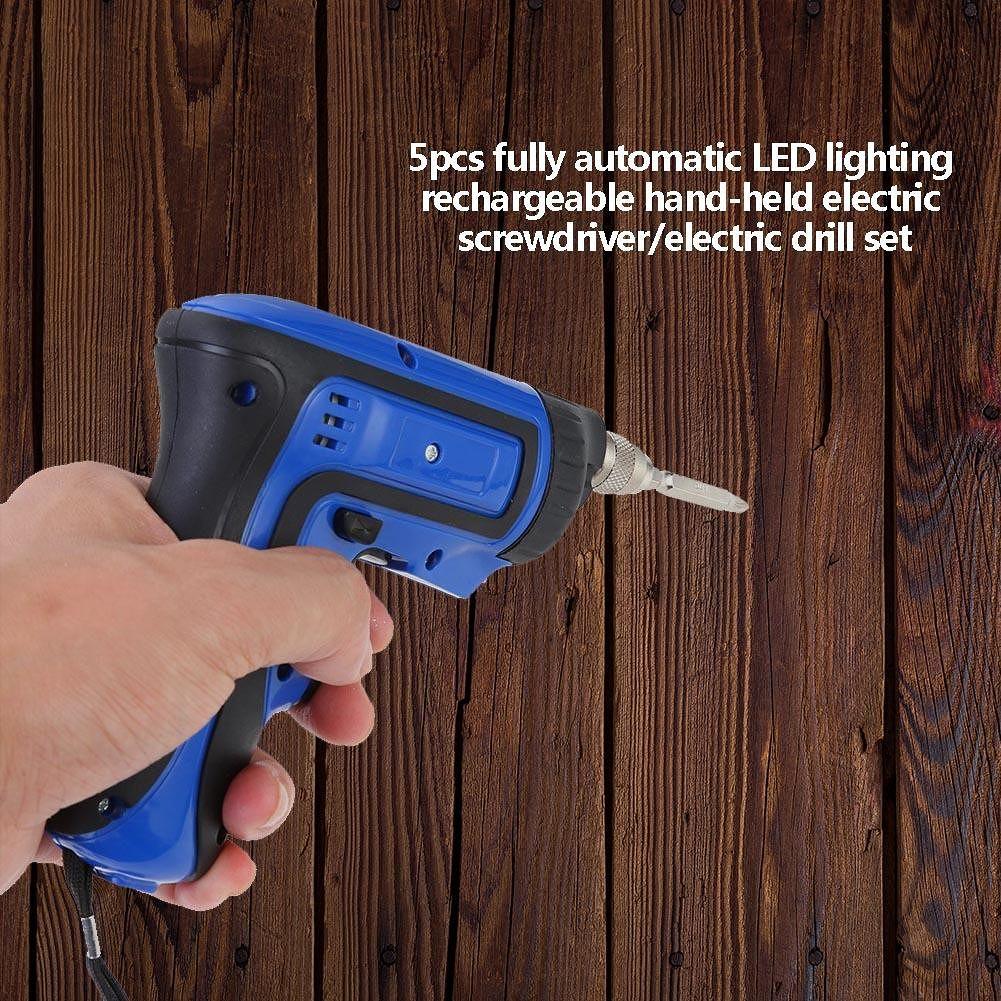 5pcs Cordless Electric Screwdriver Mini Hand Drill Power Driver Drill (US)