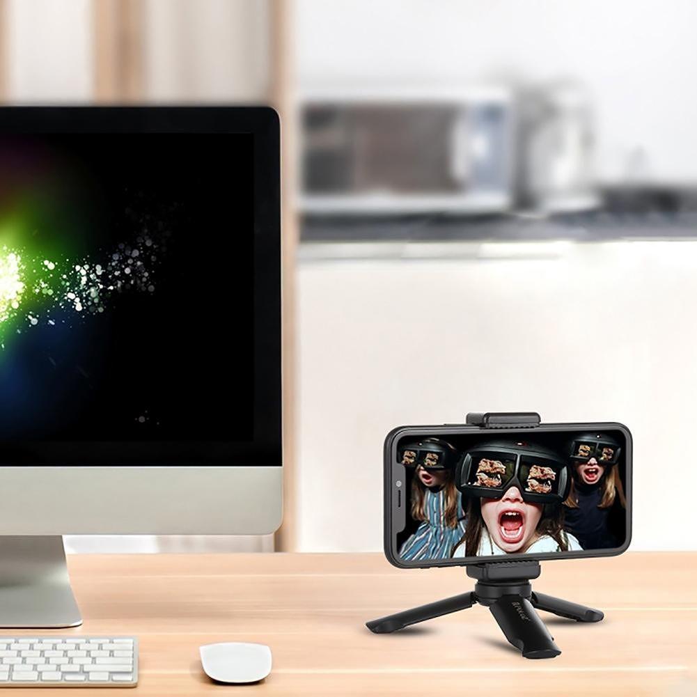 PULUZ Mini Foldable Tripod Tabletop Smartphone Mount Clip Holder Bracket