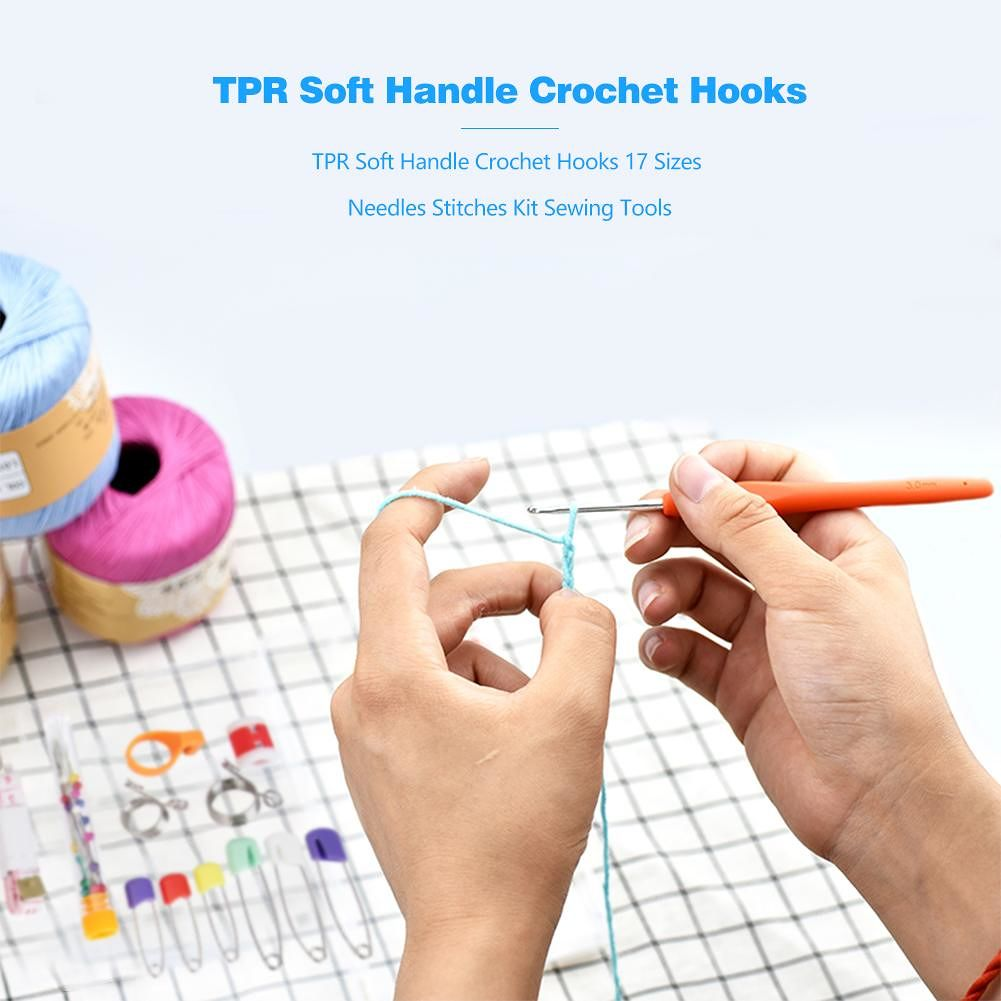 TPR Soft Handle Crochet Hooks 17 Sizes Needles Stitches Kit Sewing Tools