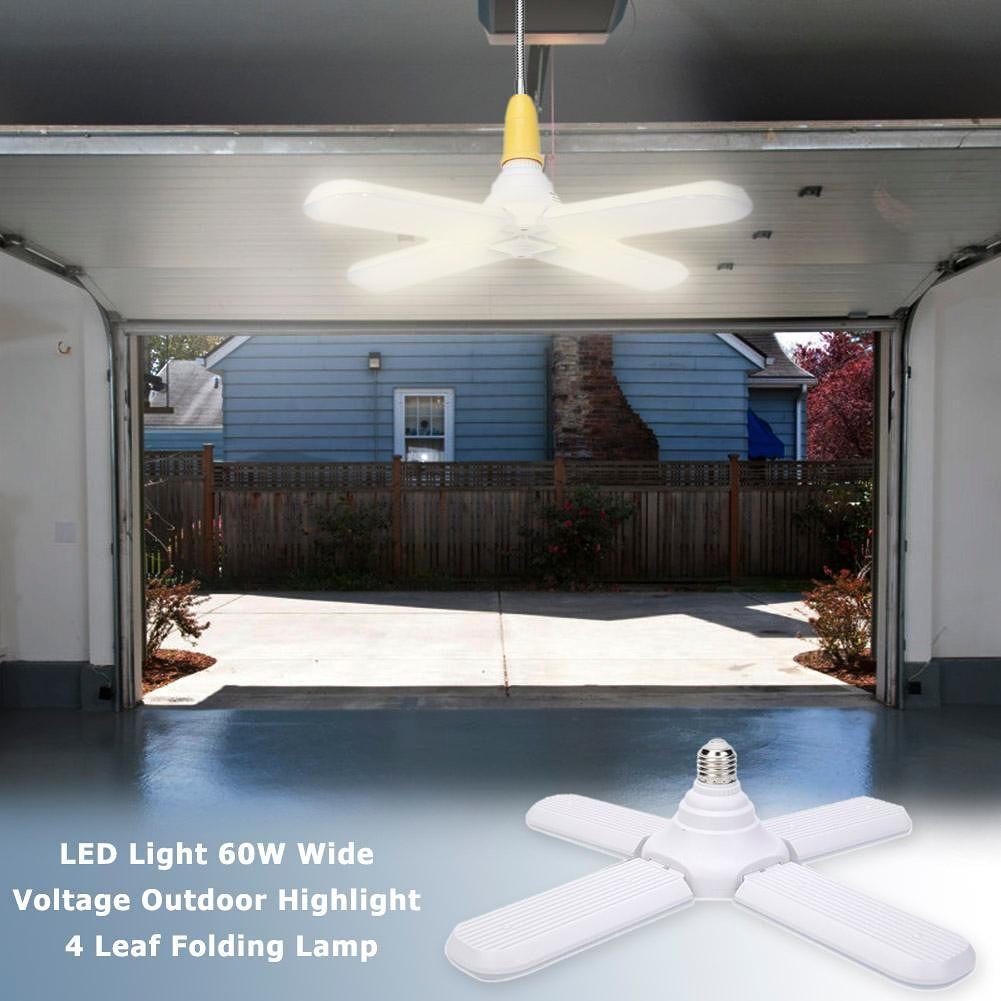 E27 60W 304 LED Light Wide Voltage Super Light 4 Leaf Folding Lamp (WW)