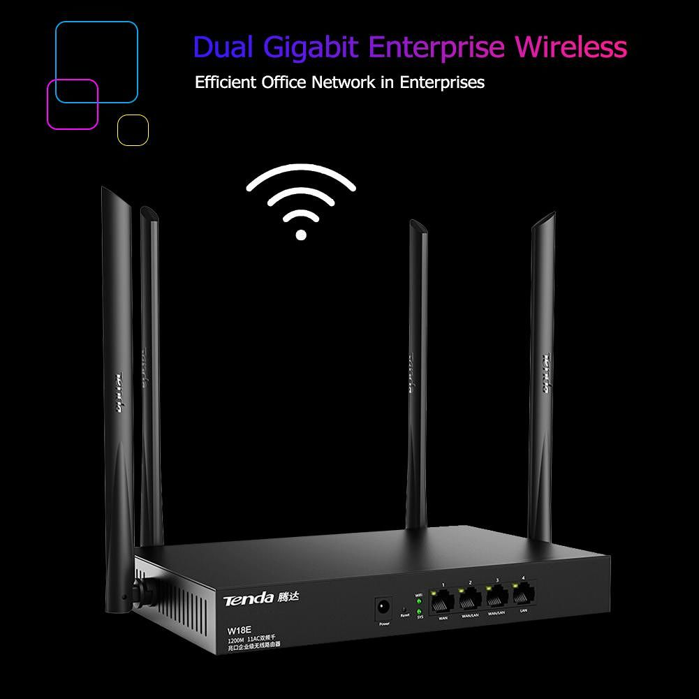 Tenda W18E 2.45+5GHz Dual-Band Wireless Router 1200M Wifi Signal Repeater