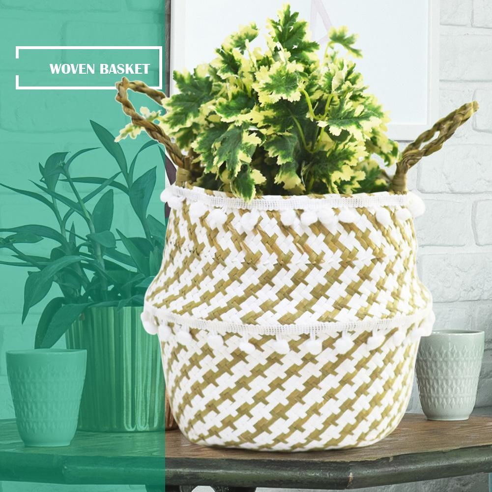 Garden Flower Pot Straw Folding Hanging Basket Plants Storage Organizer (S)