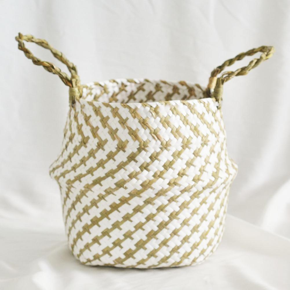Home Garden Folding Bellied Basket Flower Pot Straw Storage Organizer (S)