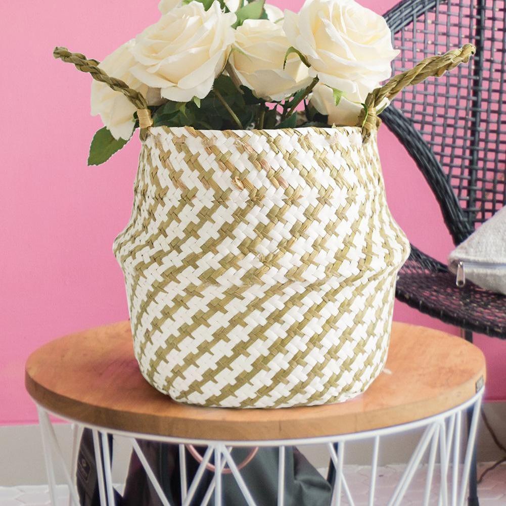 Home Garden Folding Bellied Basket Flower Pot Straw Storage Organizer (M)