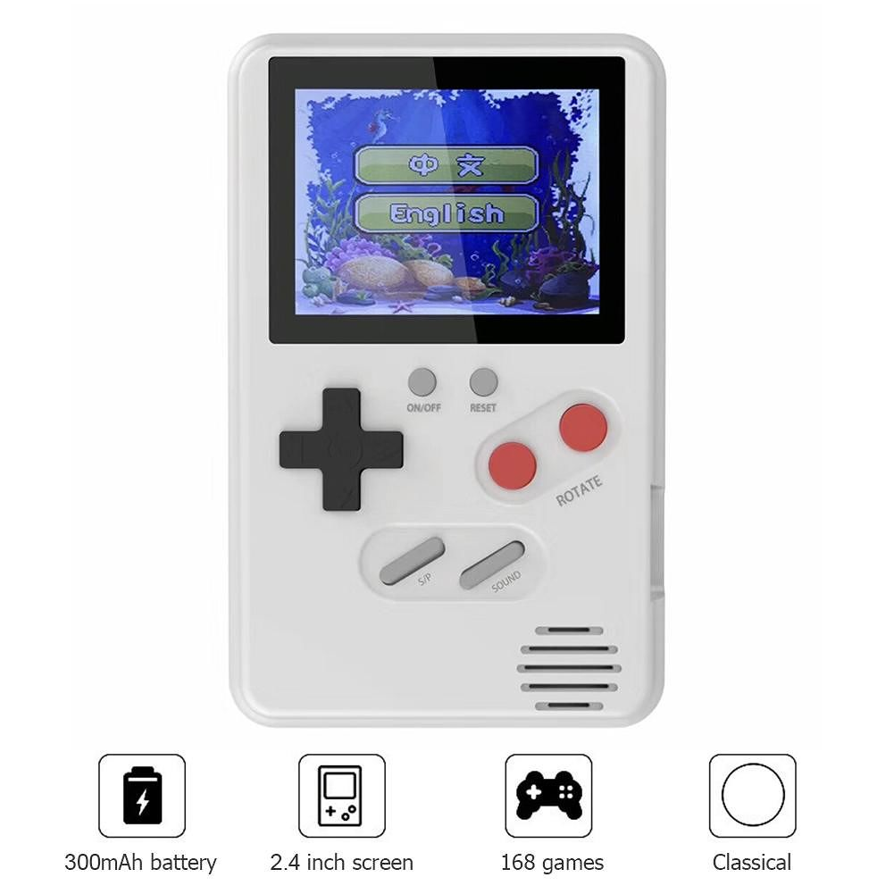 Retro Mini Console 168 Games 2.4 inch LCD Handheld Game Players (White)