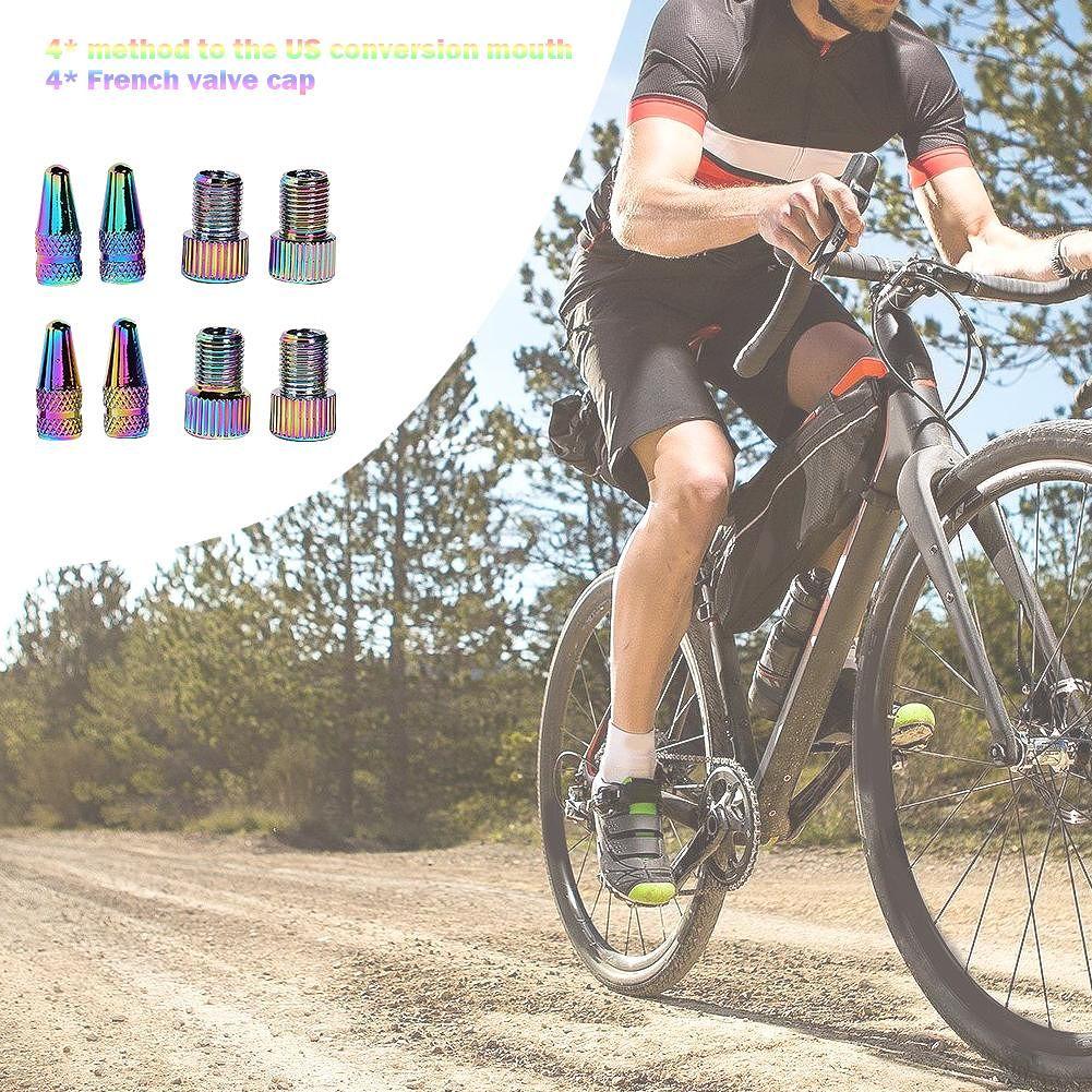 4x Holographic Presta to Schrader Bike Valve Adapters+ 4x Presta Valve Caps