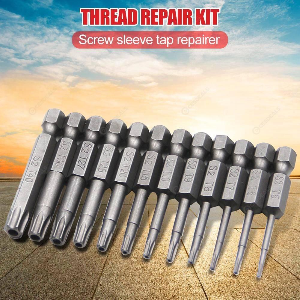 12pcs Alloy Steel Security Tamper Proof Hex Torx Screwdriver Drill Bits (A)