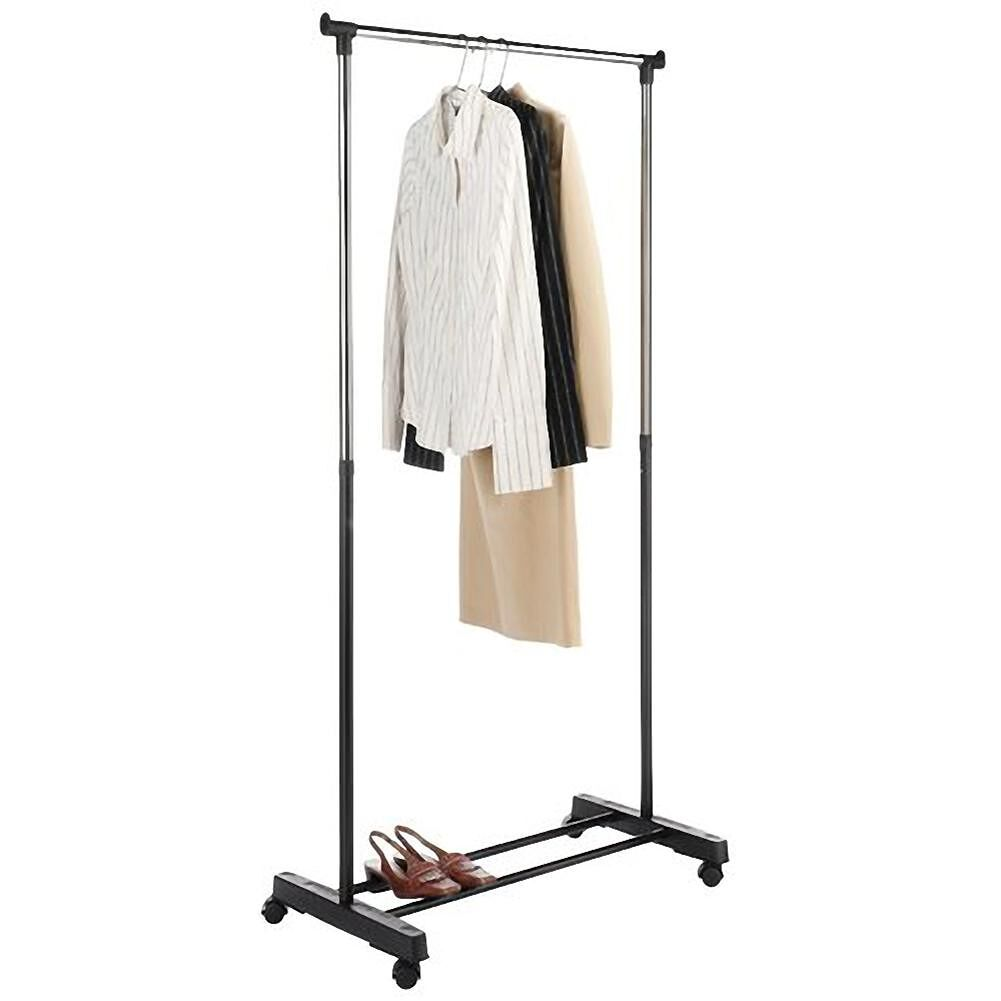 Single-Bar Simple Stand Clothes Rack With Shoe Shelf Household Organizer