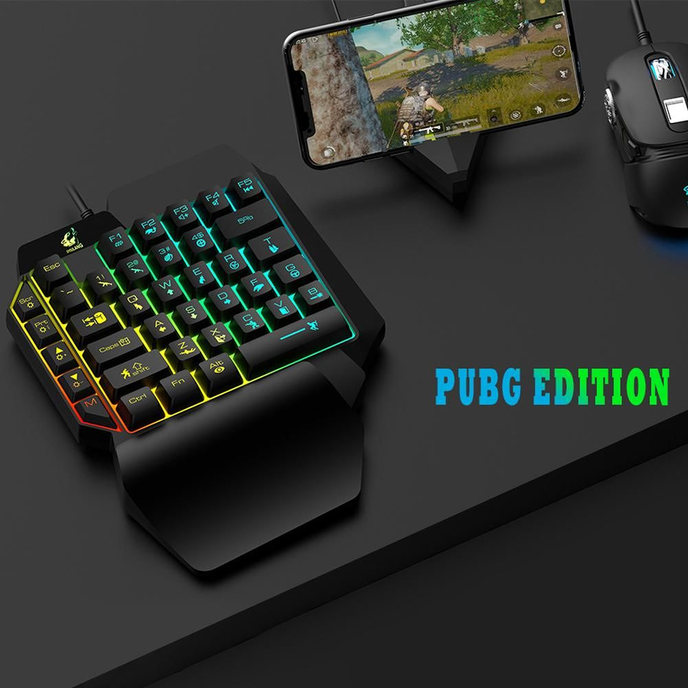 USB Wired One-Handed Gaming Keyboard Backlight 39 Keys Mini Keypad (Pubg)